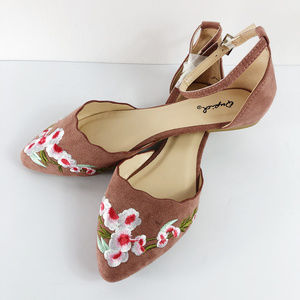 [QUPID] Pika Embroidered D'Orsay Ballet Flats